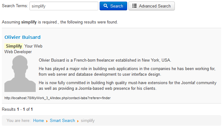 Smart Search output results