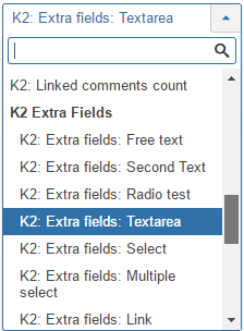 K2 Extra fields information type