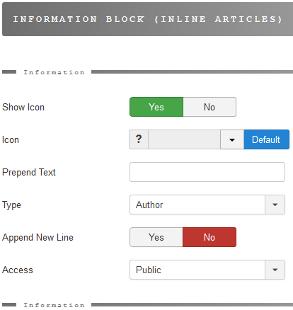 The information bloc for inline items