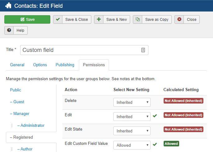 Custom fields permissions