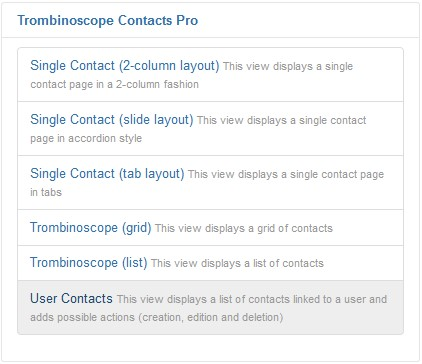 User Contacts view