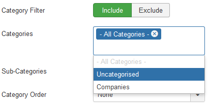 Select the categories