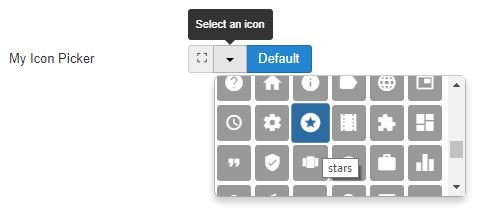 The resulting icon picker